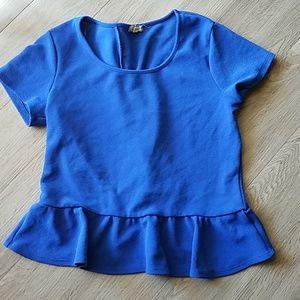 Eyeshadow cobalt blue blouse